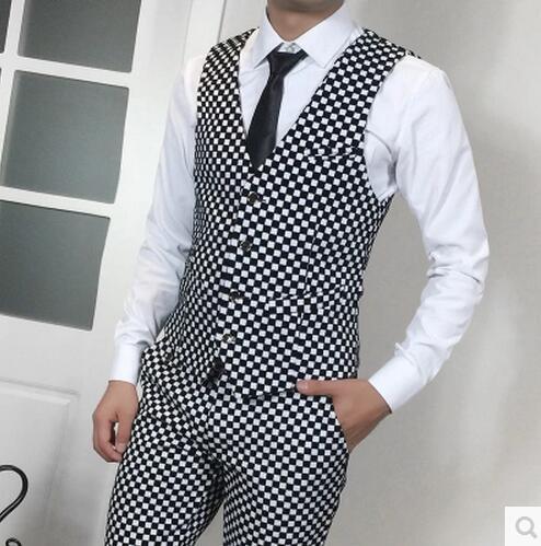 Hommes New Costume Hôte Hot Chanteur And Gilet Costumes Robe Mode Taille Plus Suit Mince Pants Formelle La costume Vest Ensemble Vêtements De Pantalon Coréens Des dIdvCFx