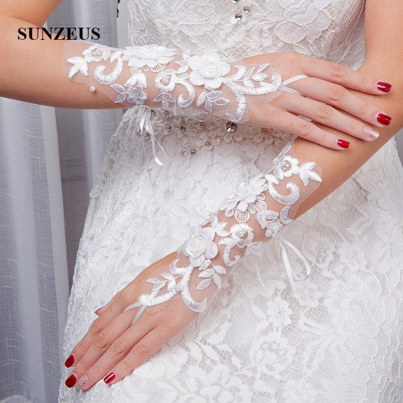 Opera Length Wedding Gloves Fingerless White Lace Gloves for Women - Bruiloft accessoires - Foto 3
