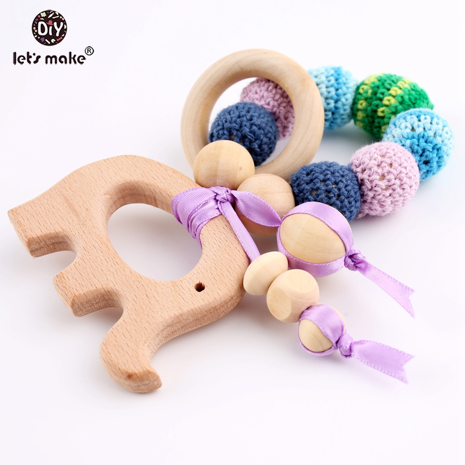 Let's Make 1PC Beech Elephent Crochet Beads Bracelets Sensory Baby Play Gym Teething Nursing Gift Baby Toys Trolley Baby Rattles