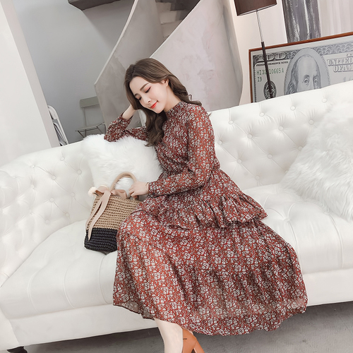 0f67576845 2018 Korean Spring And Autumn Stand Collar Chiffon Full Sleeve Floral Women  Dress Long Pleated Dresses