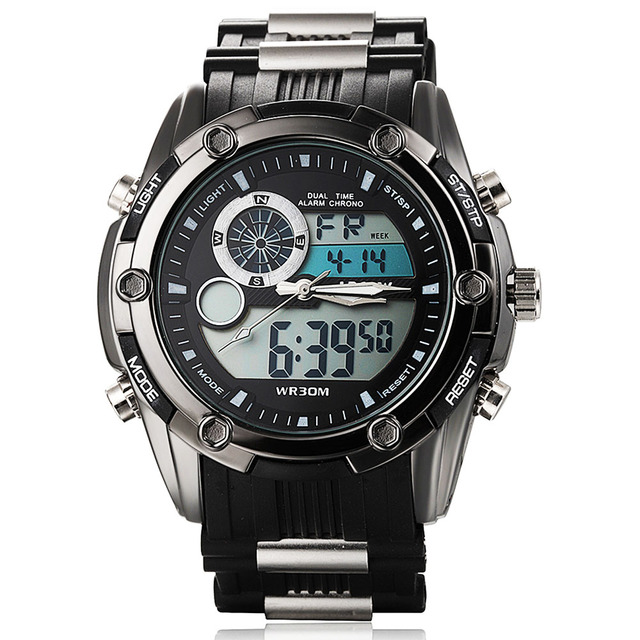 Top Sport Men Quartz Watch Hour Clock Men Analog Digital LED Men Sport Military Wrist Watch relogio masculino reloj hombre 2015