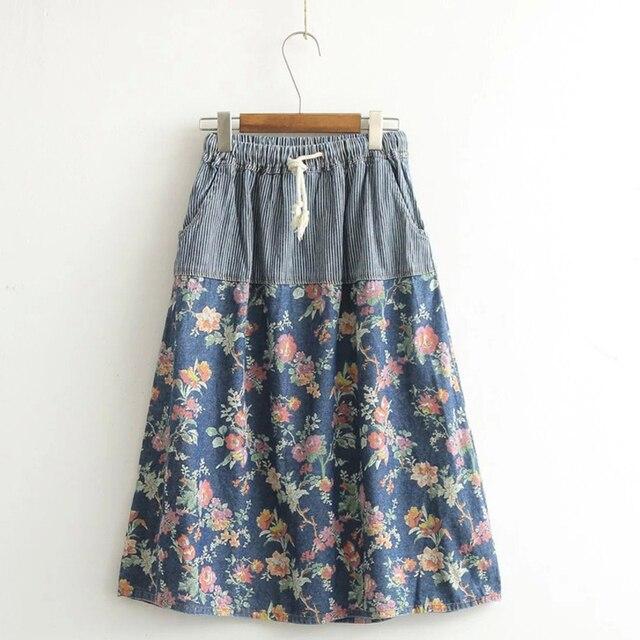 78e27f71153d Denim Skirt Spring Summer Floral Print Patchwork Striped Pockets Lace Up  Skirt Cute Princess Cotton Skirts Women