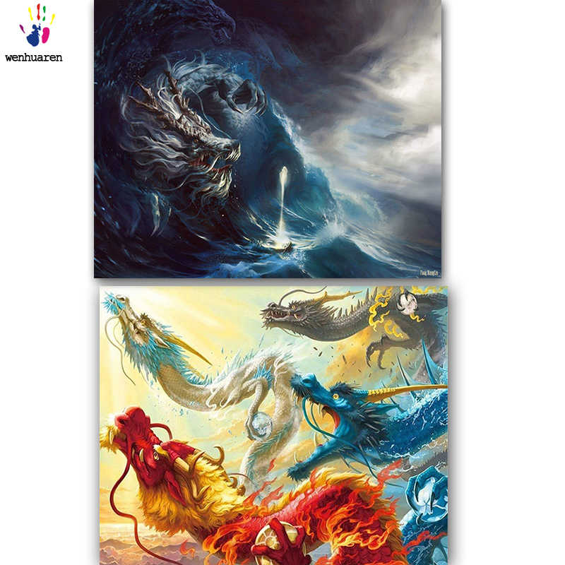 DIY colorings pictures by numbers with colors dragon picture drawing painting by numbers framed Home