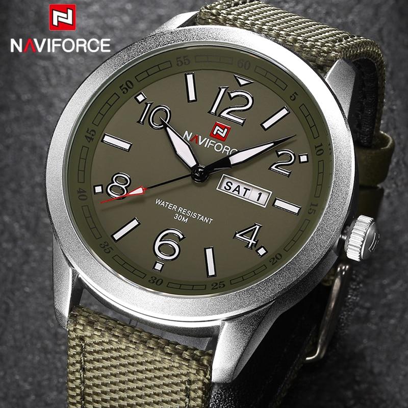 Hommes Quartz Montre NAVIFORCE Marque Mode Sport Calendrier Montres Nylon Bracelet Montre-Bracelet 2017 Montre 30 M Étanche Militaire Horloge