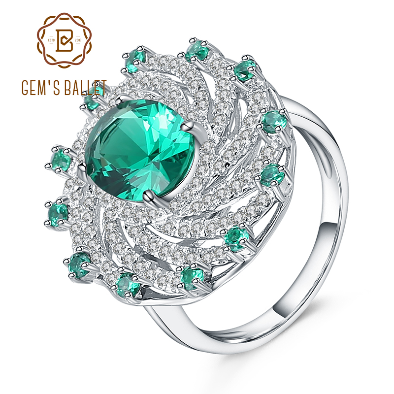 39444aa48b31f US $26.39 40% OFF Gem's Ballet Russian Nano Emerald Vintage Cocktail Ring  925 Sterling Silver Engagement Wedding Rings For Women Fine Jewelry -in ...