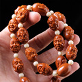 Eighteen arhats Long section Olive Nut Seed Carved Hand Carved worry beads charm bracelet necklace Tibetan Buddhism