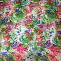 Ultra Thin100 Pure Natural Mulberry Silk Chiffon Digital Printed Fabric Material Textile Sew Women Dress Scarf