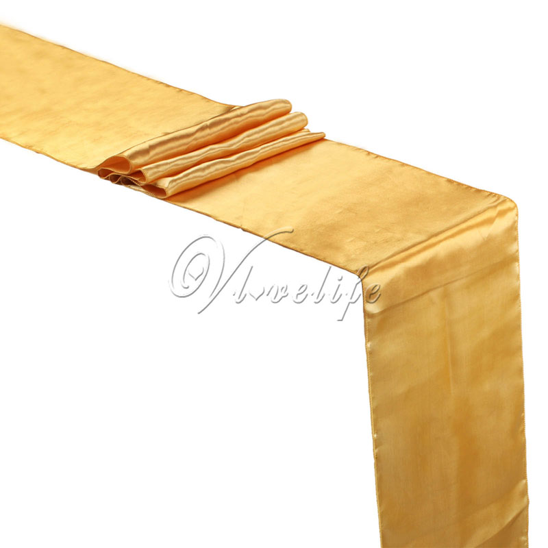 Free Shipping New Gold  Satin Table Runner 12