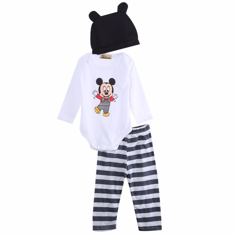 2017 3pcs Baby Boy Girls Romper Bodysuit Jumpsuit Cap Top+Pants+Hat Clothing Set Kids Cartoon long-sleeved clothes