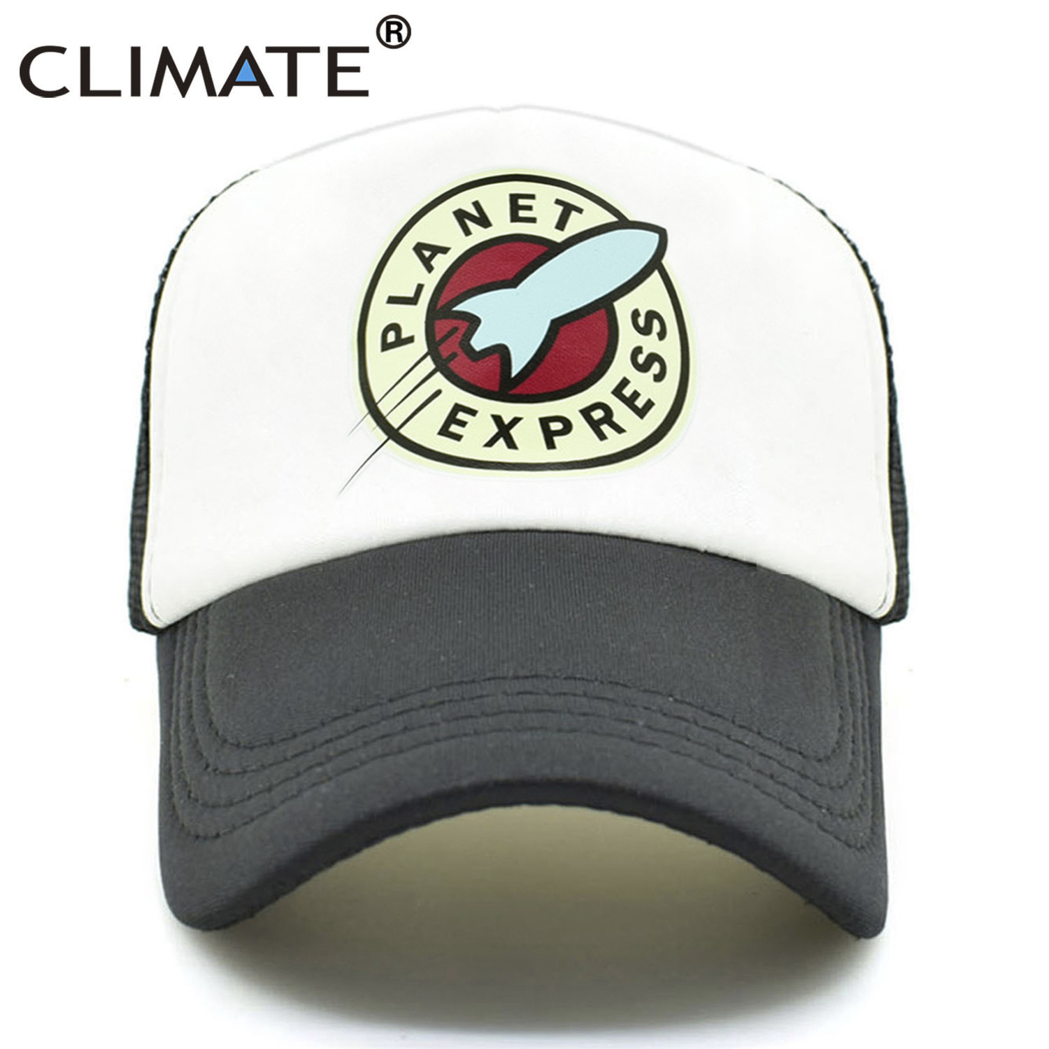 2e692bec764 CLIMATE Planet Express Trucker Caps Hat Funny Mesh Caps Spacex The Expanse  Rocket Spaceship Cool Summer