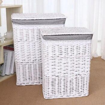 자연 위커 더러운 옷 보관 바구니 메쉬 세탁 스토리지 양동이 뚜껑 대용량 가정용 주최자 등나무 짠