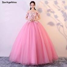 Vestido de Noiva 2018 Pink Ball Gown Wedding Dresses Short Sleeves 3D  Flowers Appliques Lace Up Vintage Bridal Gown Real Photos 5de8f7c42c49