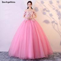 Vestido De Noiva 2018 Pink Ball Gown Wedding Dresses Short Sleeves 3D Flowers Appliques Lace Up