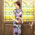 Nova chegada de seda longo cheongsam moda estilo chinês das mulheres dress elegante fino Qipao Tang Roupas Tamanho S M L XL XXL F071713
