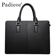 Padieoe High Quality Discounted Leather Luxury Portfolios Bags  Men Tote Bag Fashion Shoulder Bags Business Briefcase Bag 2016