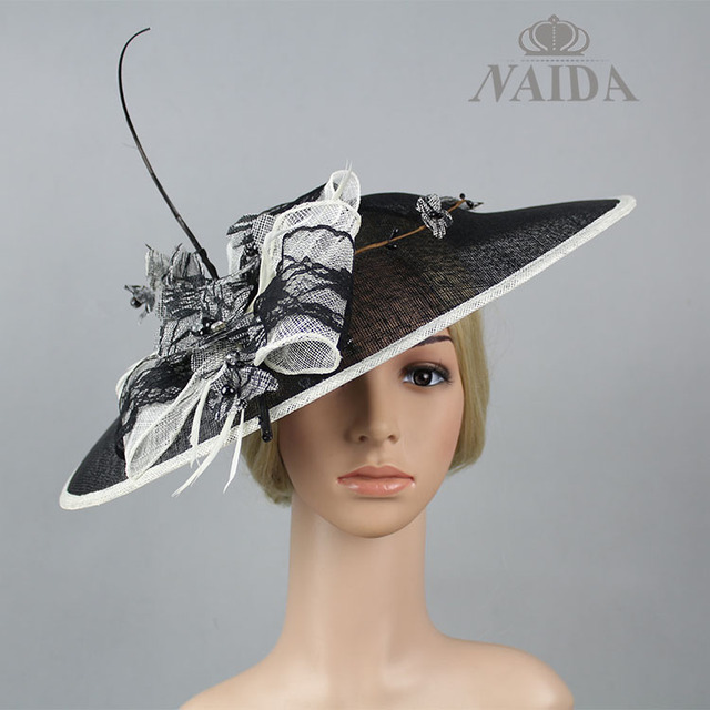 New ladies sinamay hats brand luxury hat women big wedding hats and  fascinators 6ef49b64984