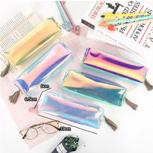 Party Favors Transparent PVC Laser Glitter Pencil Case Kids Birthday Wedding Gift For Guests Back to School Kawaii Girls Handbag(China)