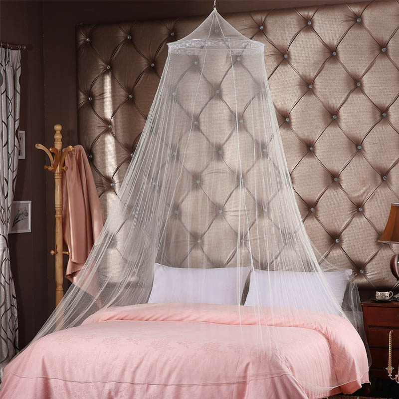 Simple Universal Elegant Round Lace Insect Bed Canopy Netting Curtain Dome  Polyester Bedding Mosquito Net Home Furniture