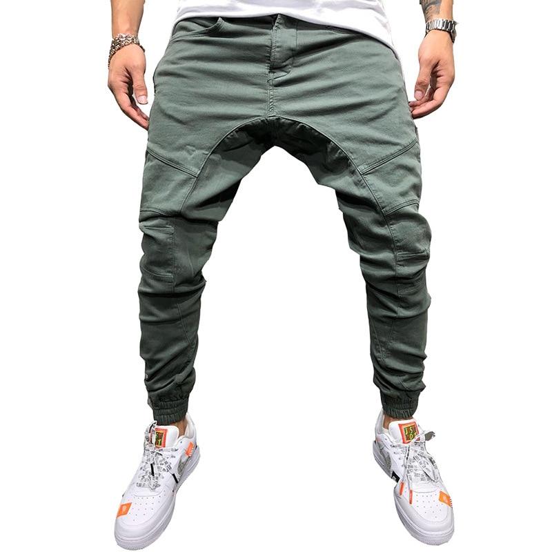 Newest 2019 Men Pants Zipper Decoration Splicing Harem Joggers Pants Male Trousers Solid Sweatpants Drop Shipping ABZ150