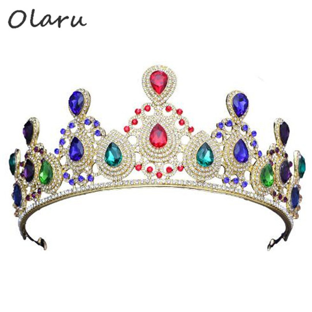 Olaru Luxury Gold Color Crystal Vintage Gold Wedding Crown Alloy Bridal  Tiara Baroque Queen King Crown Rhinestone Tiara Crown 3b34b7e591c1
