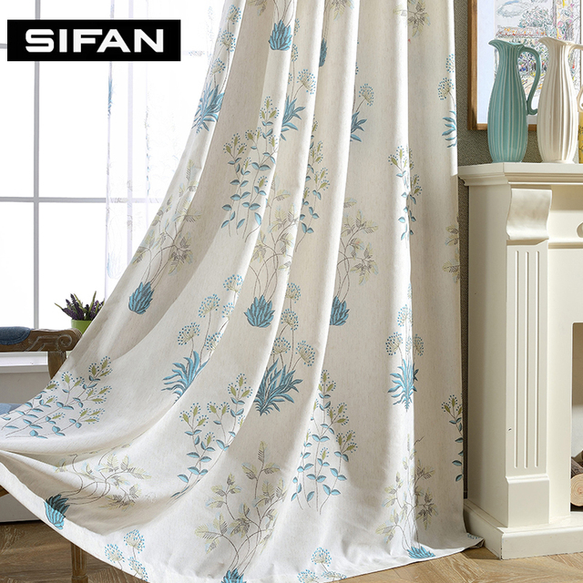 Fancy Window Curtains Printed Linen Curtains for Bedroom Living Room ...