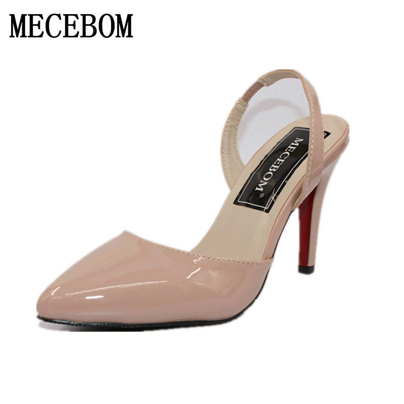 Sexy Point Toe Patent Leahter High Heels Pumps Shoes 2018 Woman's Red Sandals Heels Shoes Wedding Shoes 9cm 35-41 Size 1340W shoesofdream women s 2015 summer peep pointed toe red anke strap patent leahter sexy spike high heels