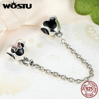 New 925 Sterling Silver Cartoon Minnie Miky Safety Chain Charm Fit Original Pandora Bracelet Pendant Authentic