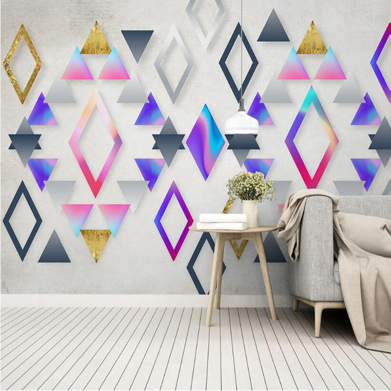 YOUMAN Custom Wallpaper Murals Free Desktop Wallpaper Embossed Wallpaper Geometry Color 3d Wallpaper for Bedroom Wall Art Mural free shipping cartoon art wall clock stickers 3d mute stereo digital color wall clock personality wallpaper mural szt 40