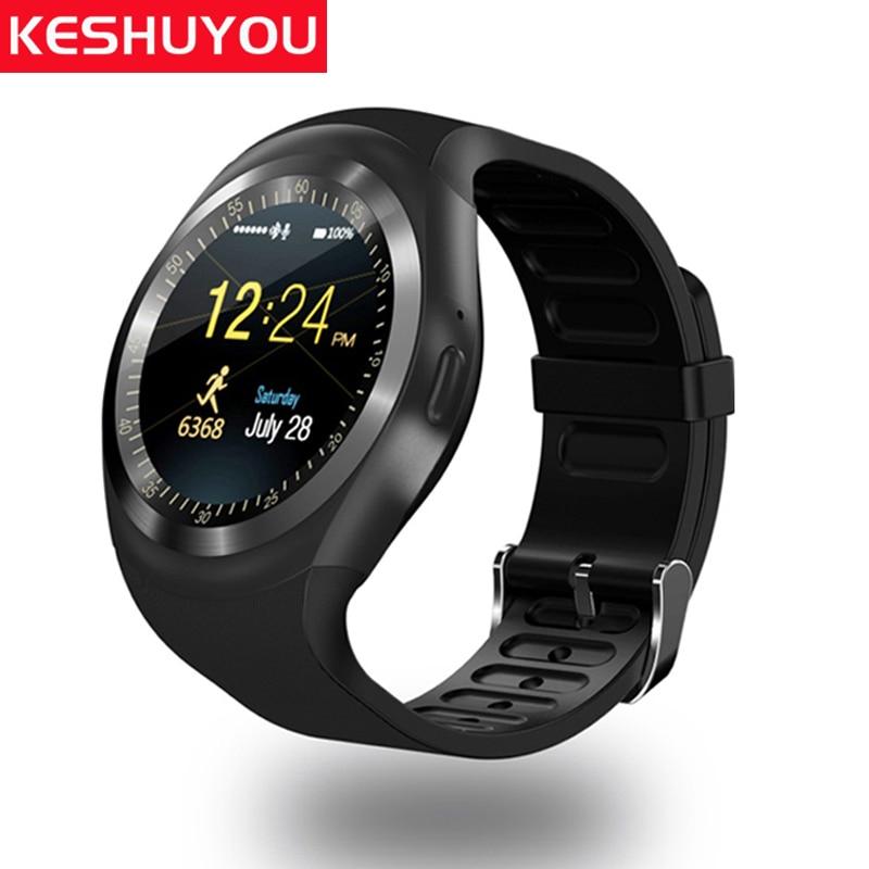 KESHUYOU Y1 reloj teléfono smart watch ios mujer tarjeta sim disponible sí reloj tracker bluetooth reloj teléfono android