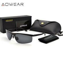 AOWEAR lunettes de soleil polarisées pour hommes, HD, Anti éblouissement, monture en aluminium, pour la conduite, la pêche, sport, plein air