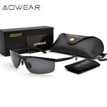 AOWEAR mężczyźni HD spolaryzowane okulary męskie gogle przeciwodblaskowe okulary aluminiowa rama sport odkryty jazda samochodem łowienie ryb okulary