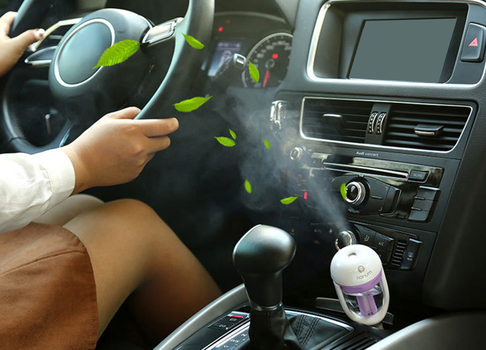 Car Aroma Diffuser 12V Steam Air Humidifier Mini Air Purifier Aromatherapy Essential Oil Diffuser Portable Mist Maker Fogger