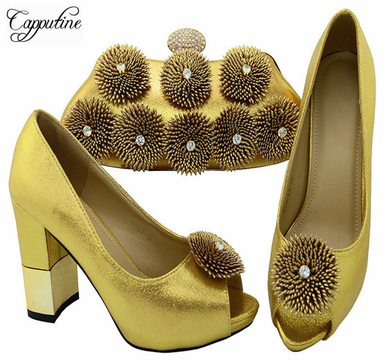 Capputine New Winter Rhinestone Woman Shoes And Bag Set For Wedding Party Italian Style Shoes With Matching Bags Set BCH-33A3