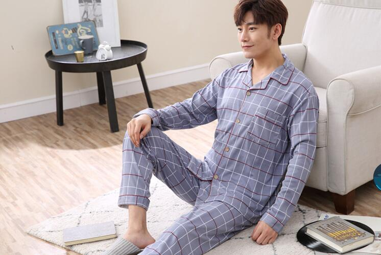Sleeping-Cloth Long-Sleeve Men Plaid Turn-Down-Collar Fashion New-Arrival