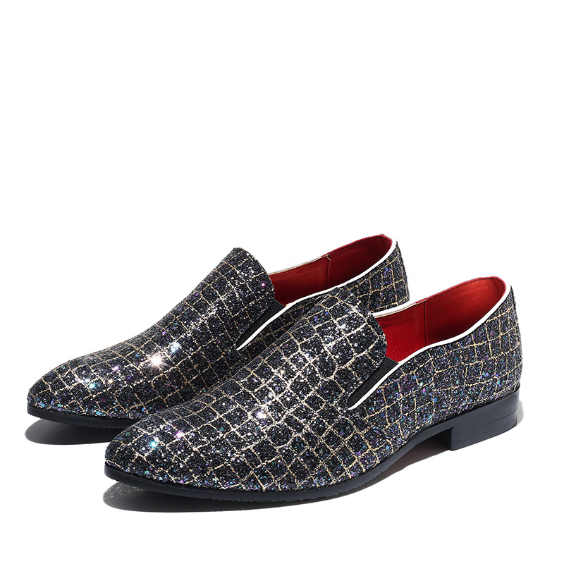 Men Leather Casual Shoes Sequins Man Loafers Charming Men Leather Loafers Fashion Men Wedding Dress Shoes Prom Plus Size 48 in Men 39 s Casual Shoes from Shoes