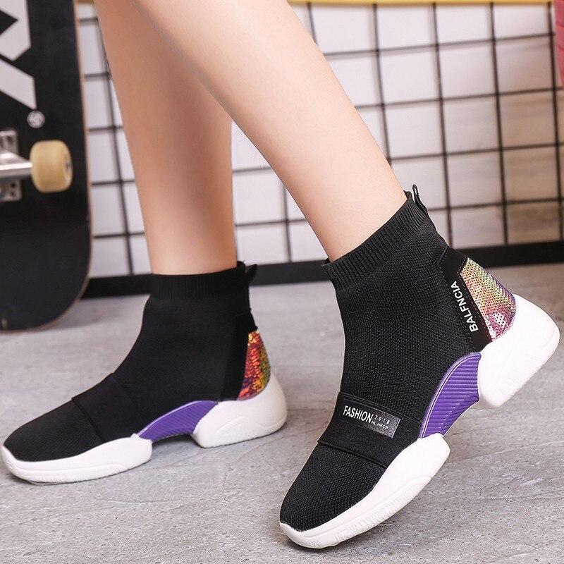 9add7d4d9f26 02 Chaussures Été Cheville Printemps Plate Bottes Femmes Mujer Chaussettes  Mode Doux Femme forme Zapatos Espadrilles ...