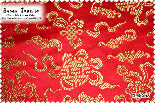 Chinese Silk Brocade Fabric Wedding Decoration Cushion Table Runner Red Background With Gold Knot
