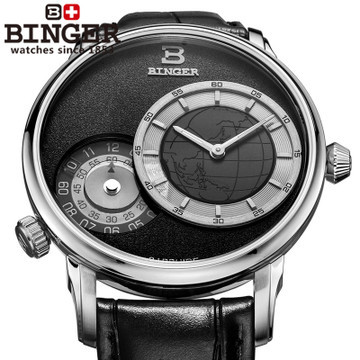 Military Binger GMT Watch for Men Japan Quartz watches Luxury brand Casual watch Leather wristwatch Map