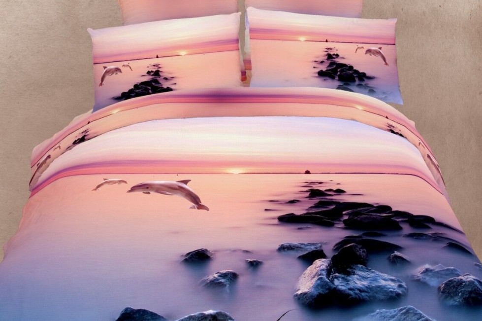 3D Dolphin ocean print bedding set sunset sea duvet cover bedspreads cal king size queen full fitted bed sheet quilt cotton 5pcs