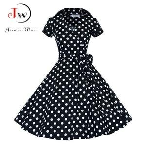 Image 2 - Summer Dress Women Polka Dot Vintage Swing Robe Rockabilly Housewife Retro 50s Pinup Cotton Mini Sundress Vestidos
