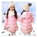 Детская одежда зимние женские ребенок ватные куртки девочка тепловой утолщение капюшоном средней длины пальто мода Цветочный куртка