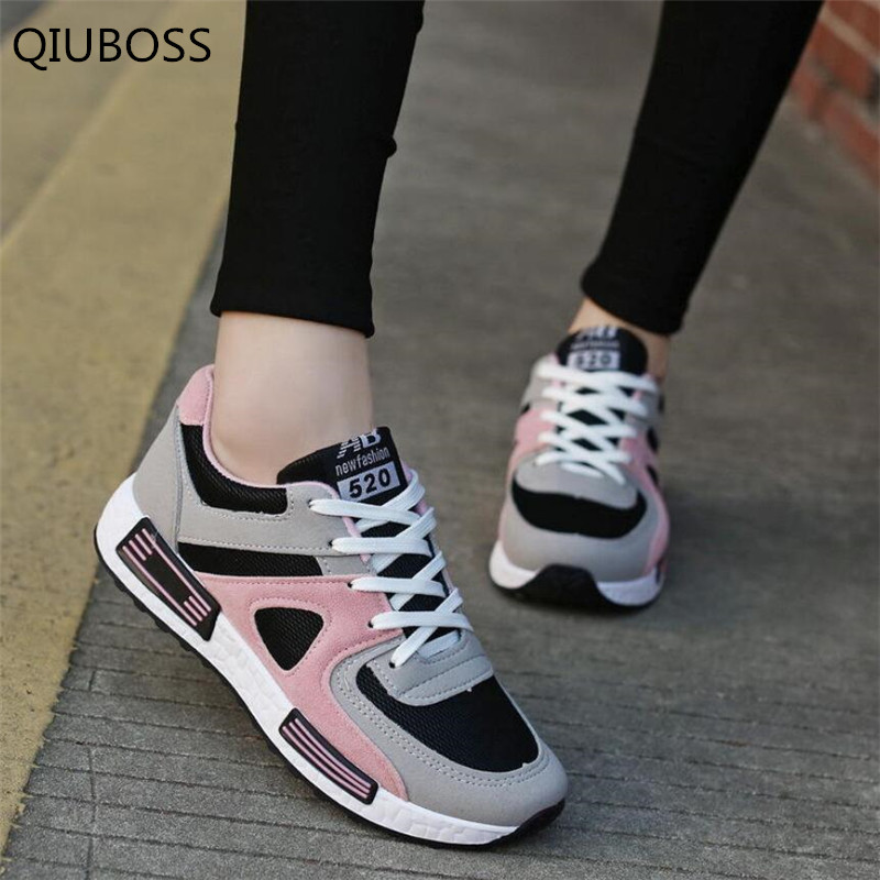 QIUBOSS Spring New Designer Pink Platform Sneakers Women Vulcanize Shoes Tenis Feminino Lace-up Casual Female Shoes Woman Q483
