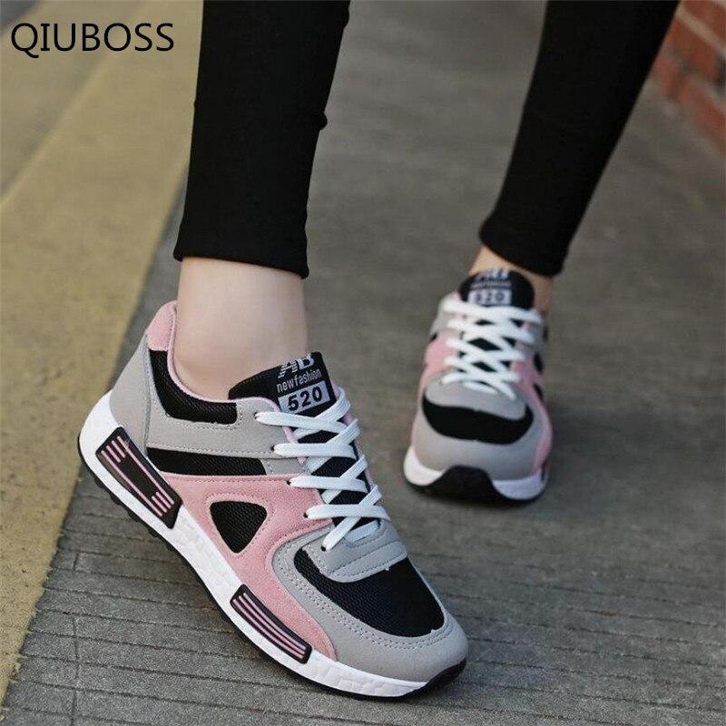 QIUBOSS Spring New Designer Pink Platform Sneakers Women Vulcanize Shoes Tenis Feminino Lace-up Casual Female Shoes Woman Q483