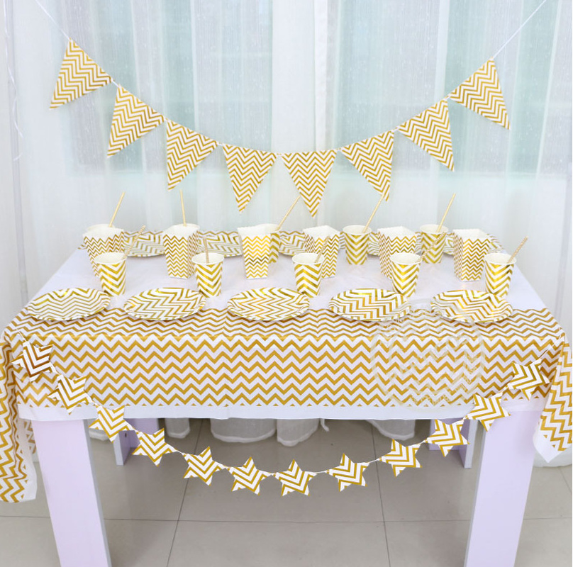 Kit Golden Stripes Party Supplies Disposable Party Tableware for Party for Kids Birthday Birthday Party Decorations