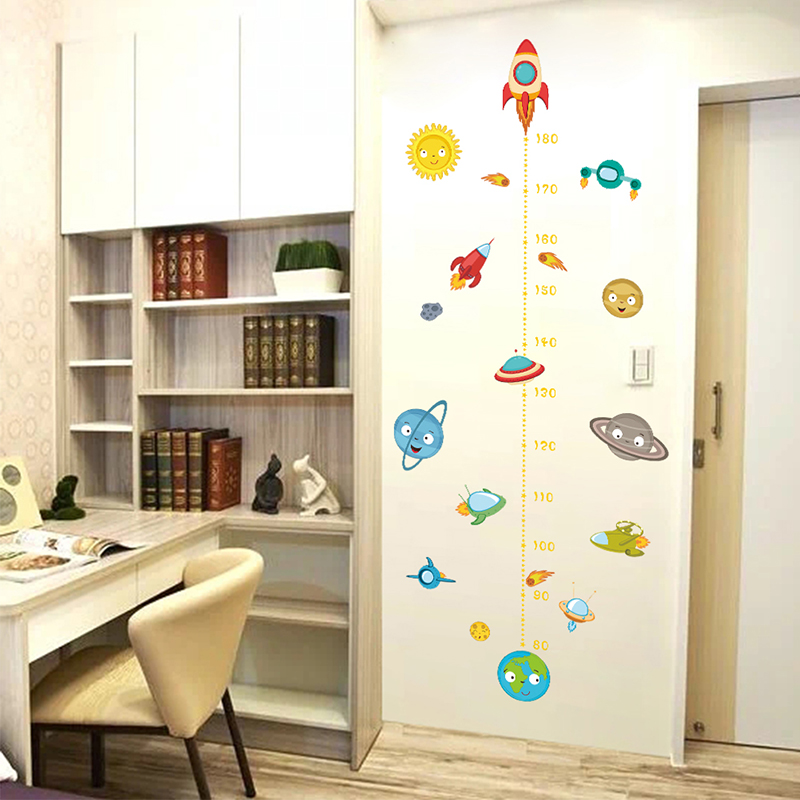 Cartoon Solar System Rocket Height Measure Wall Stickers For Kids Rooms Outer Space Wall Decals Growth Chart Mural Wall Art