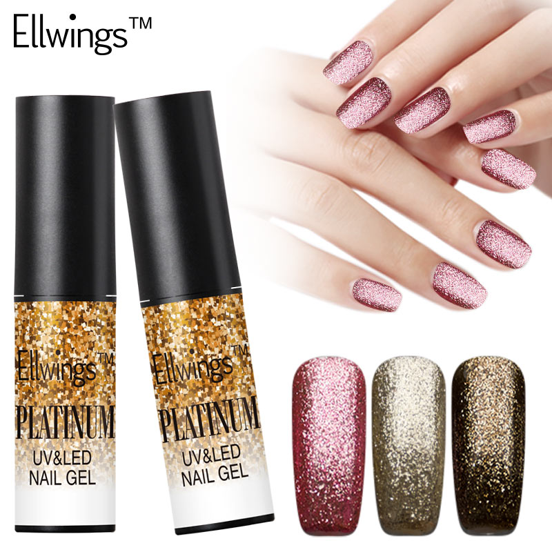 Ellwings 1pcs 12 Color Shimmer Platinum Gold Gel Lacquer Long Lasting Glitter Nail Gel Polish Soak Off Shining UV Gel Varnish