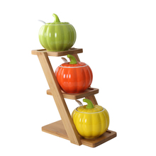 Creative pumpkin seasoning bottle set Ceramic with wood holder Castor Spice jar Seasoning pot Salt and pepper Sugar bowl