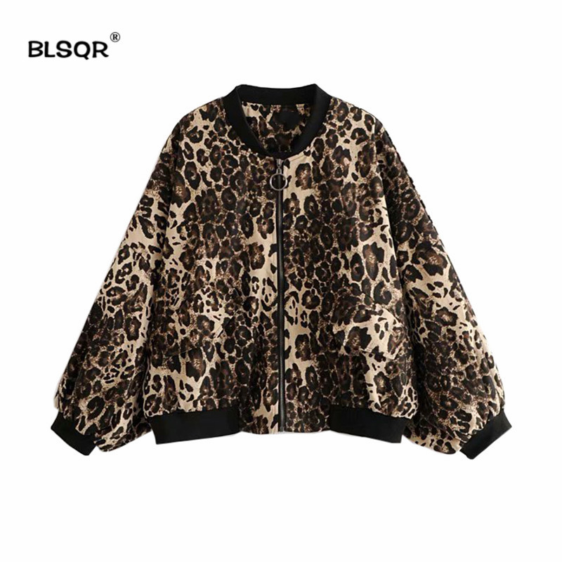 Womens 2018 Autumn Casual Leopard Print   Jackets   Ladies Pocket Zipper Front Stand Collar Long Sleeve   Basic     Jacket   Coat Outwear