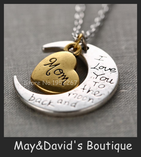 Hot Sale Sweet Romantic Gift For Family Members Mom Grandma Birthday Present Pendant Necklace I Love You Short