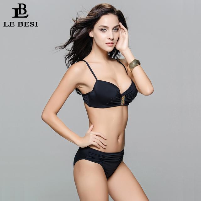 LE BESI New Women Sexy Beach Push Up Bikini Set Mid Waist